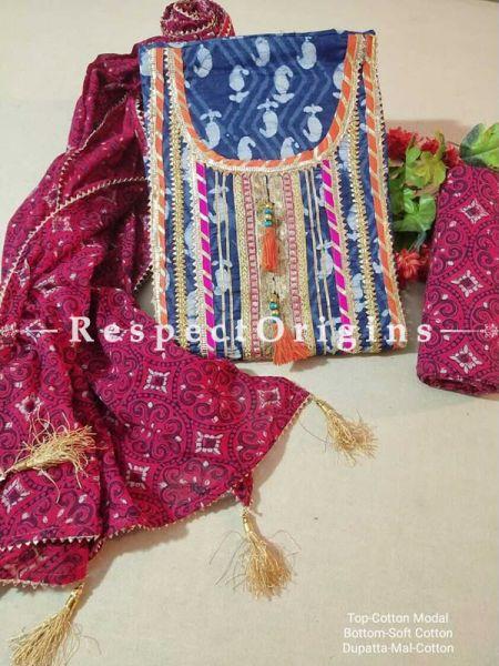 Bagru Unstiched Salwar Suit Fabric; Blue with Orange Border Top and Maroon Floral Design Bottom and Dupatta; RespectOrigins.com