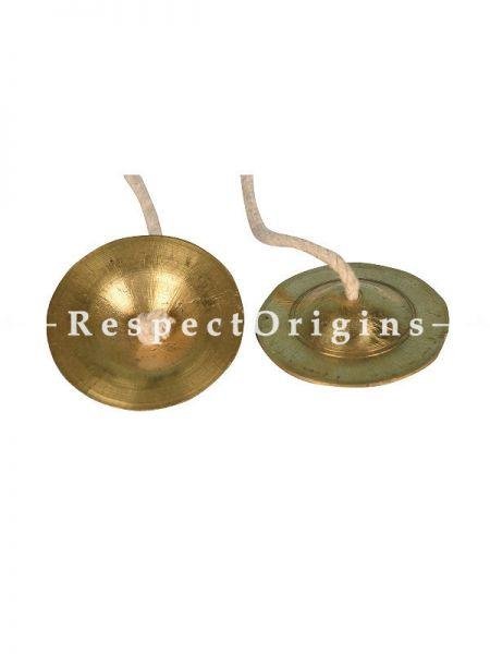 Bajanai Thalam, 1 Pair, 2.5 inch (light weight), Gold; Bharathanatyam Dance Instrument; RespectOrigins.com