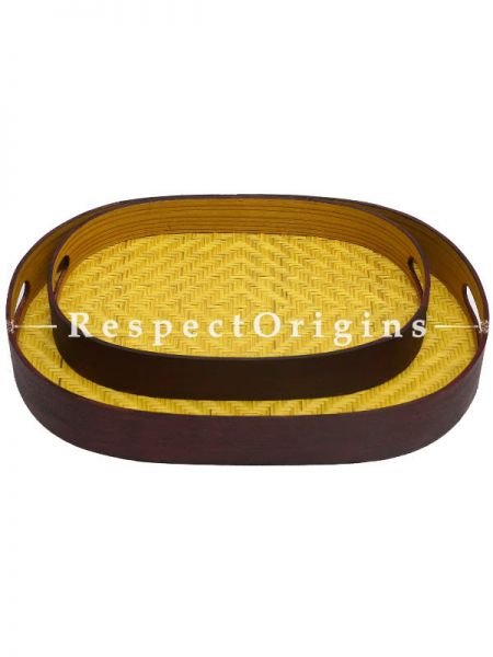 Set of 2 Bamboo Matte Finish Wooden Oval Serving Tray; 10 x 14, 8 x 12; RespectOrigins.com