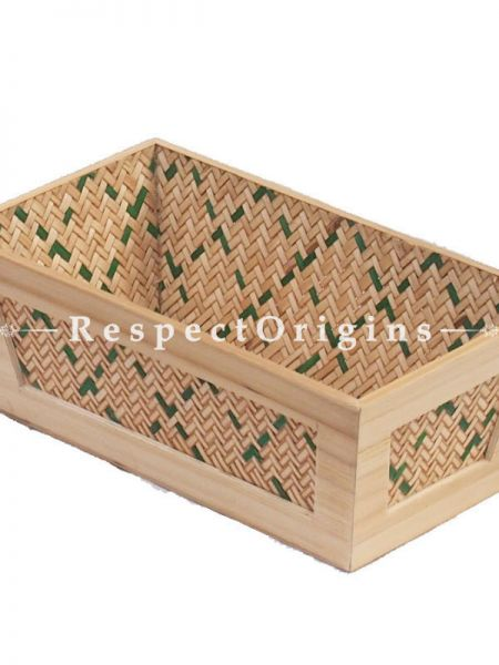 Bamboo Matte Finish Wooden Rectangle Bread Basket; 6 x 12; RespectOrigins.com