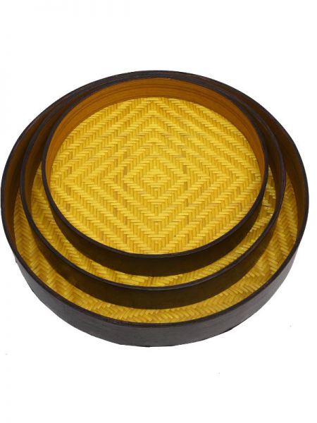 Set of 3 Bamboo Matte Finish Wooden Round Serving Tray; 12 x 2, 10 x 1.5, 8 x 1.5; RespectOrigins.com