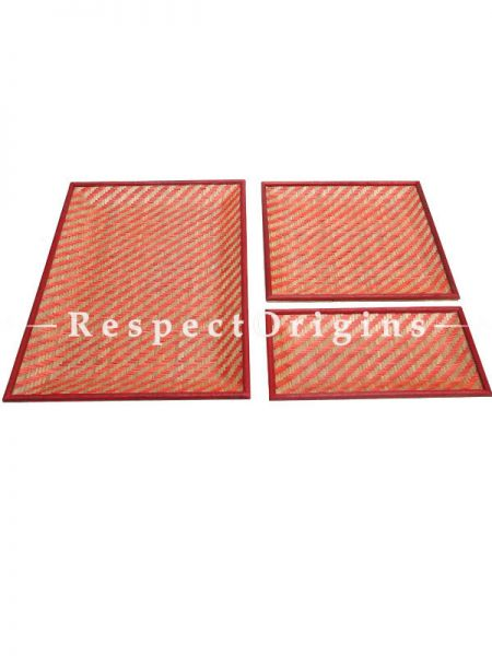Set of 3 Bamboo Matte Finish Wooden Serving Tray; 12 x 18, 11 x 11, 6 x 11; RespectOrigins.com
