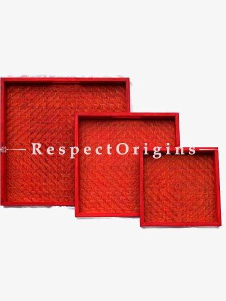 Set of 3 Bamboo Matte Finish Wooden Square Serving Tray; 14 x 14, 11 x 11, 8 x 8; RespectOrigins.com