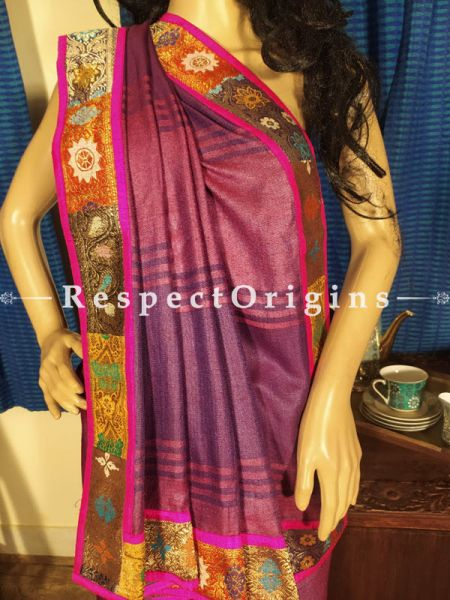 Plum Ghiccha Handloom Silk Saree with Banarasi Border; Blouse Included; RespectOrigins.com
