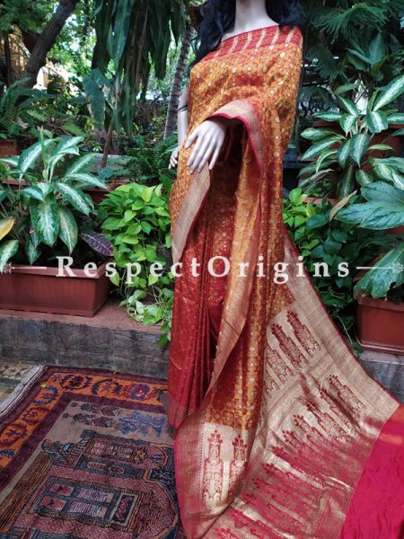 Banarasi Tanchoi Gold and Red Woven Bridal Saree; Blouse Included; RespectOrigins.com