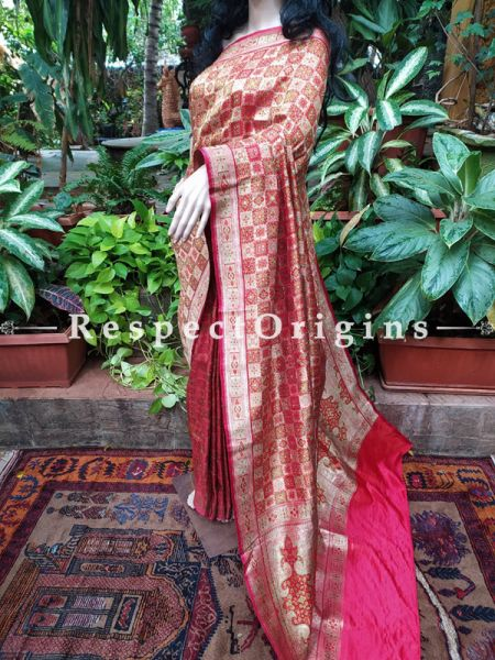 Berry Red Tanchoi Handloom Benarasi Bridal Saree; Blouse Included; RespectOrigins.com