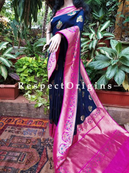 Royal Blue Benarasi Saree with Zari Buti and Pink Zari Border; Blouse Included; RespectOrigins.com