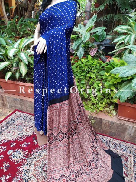 Dark Blue & Beige Bandhani Gajji Semi Silk Saree with Running Blouse ; RespectOrigins.com