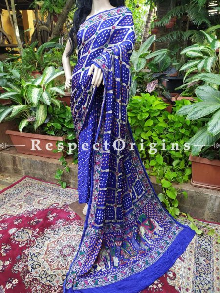 Violet Blue Gaji Bandhej Handloom Silk Saree with Running Blouse; RespectOrigins.com