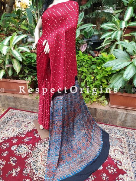 Bandhani Gajji Red & Blue Semi Silk Saree with Running Blouse ; RespectOrigins.com