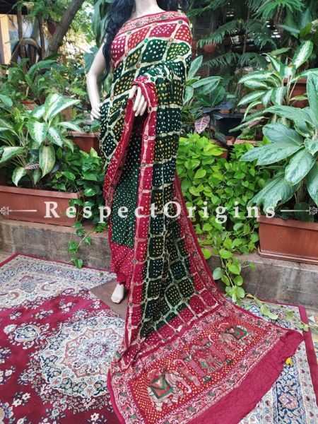 Red & Green Gaji Bandhej Handloom Silk Saree with Running Blouse; RespectOrigins.com