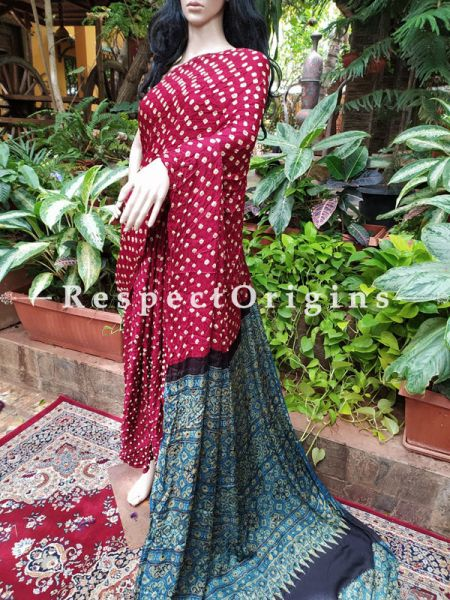 Bandhani Gajji Semi Silk Saree with Running Blouse in Red & Blue ; RespectOrigins.com