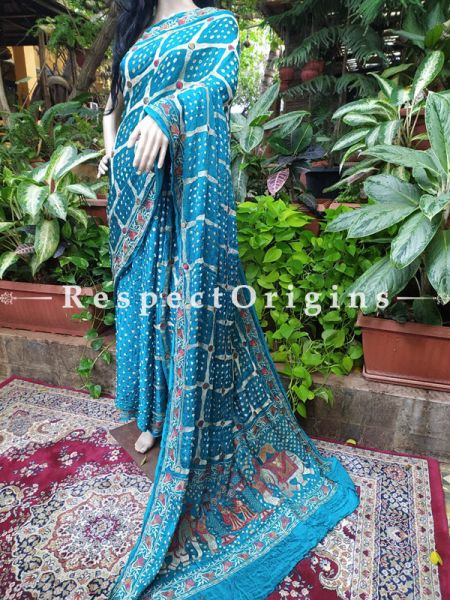 Gaji Silk Saree Bandhej; Blue; with Running Blouse; RespectOrigins.com