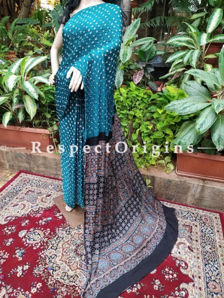 Bandhani Gajji Semi Silk Saree in Blue & Beige with Running Blouse ; RespectOrigins.com