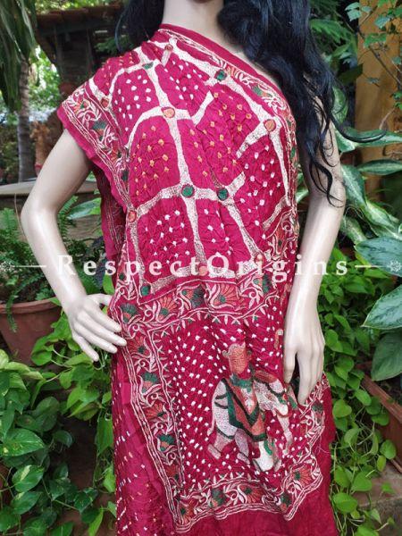 Red Gaji Bandhej Handloom Silk Saree with Running Blouse; RespectOrigins.com