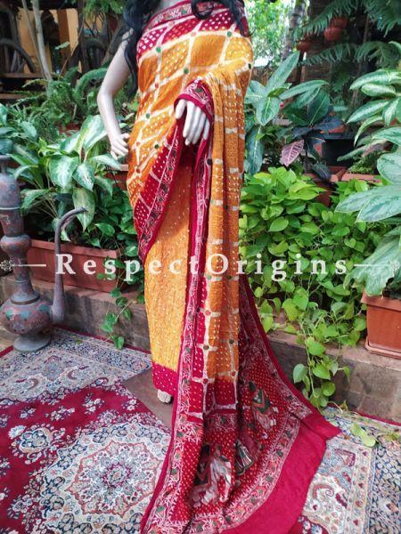 Gaji Silk Saree Bandhej; Mustard and Red; with Running Blouse; RespectOrigins.com