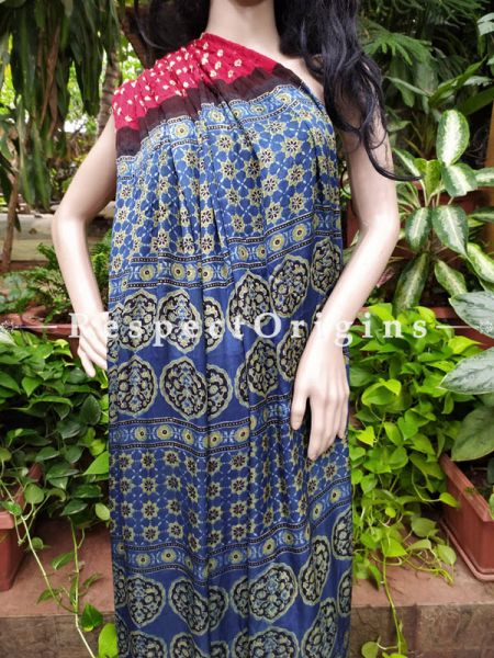 Bandhani Gajji Semi Silk Saree with Running Blouse in Red & Dark Blue; RespectOrigins.com