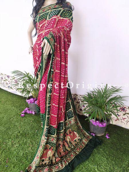 Red & Green Handloom Bandhej Gaji Silk Saree with Running Blouse; RespectOrigins.com