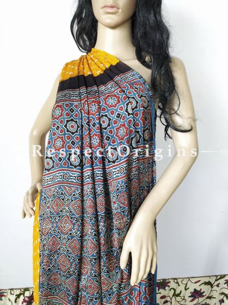 Bandhani Gajji Semi Silk Saree with Running Blouse in Mustard; RespectOrigins.com