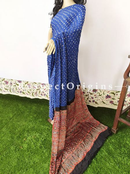 Blue & Beige Bandhani Gajji Semi Silk Saree with Running Blouse ; RespectOrigins.com