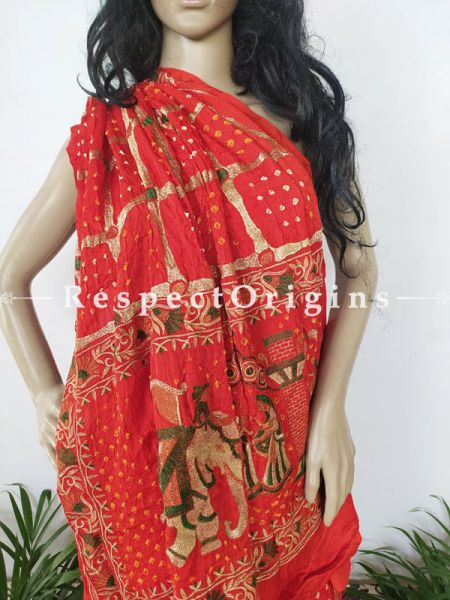 Orange Handloom Bandhej Gaji Silk Saree with Running Blouse; RespectOrigins.com