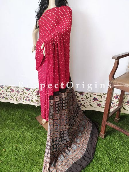 Bandhani Gajji Red & Beige Semi Silk Saree with Running Blouse ; RespectOrigins.com