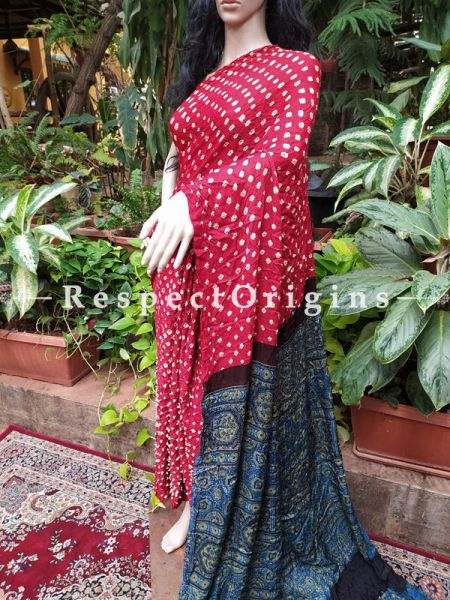Red & Dark Blue Bandhani Gajji Semi Silk Saree with Running Blouse ; RespectOrigins.com