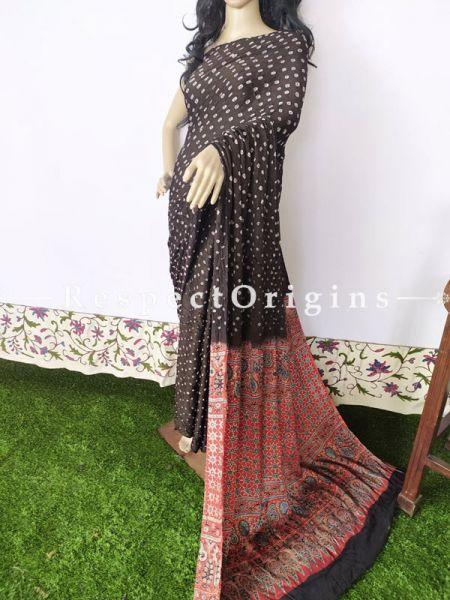 Bandhani Gajji Semi Silk Saree with Running Blouse in Black; RespectOrigins.com