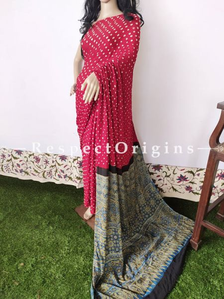 Bandhani Gajji Semi Silk Red Saree with Running Blouse; RespectOrigins.com