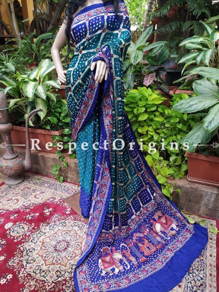 Green with Royal Blue Gaji Bandhej Handloom Silk Saree with Running Blouse; RespectOrigins.com