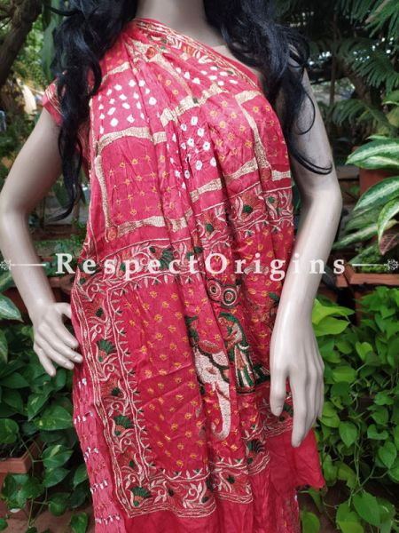 Handmade Gaji Silk Saree Bandhej; Red; with Running Blouse; RespectOrigins.com