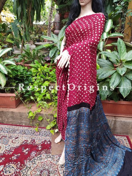 Bandhani Gajji Semi Silk Saree with Unstitched Blouse in Red & Dark Blue; RespectOrigins.com
