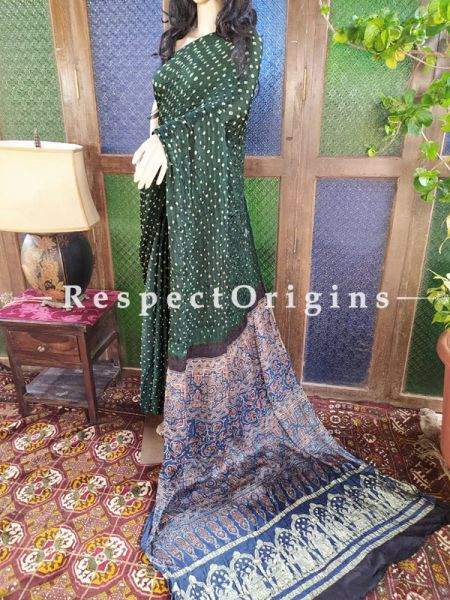 Stunning Ajrakh Block- print on Bandhani Modal Silk Saree Green With Blue & Black Pallu; Blouse Included; RespectOrigins.com