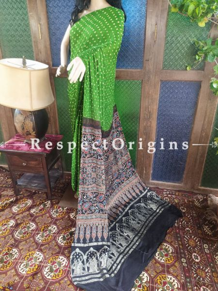 Lovely Ajrakh Block- print on Bandhani Modal Silk Saree Green With Black Pallu; Blouse Included; RespectOrigins.com