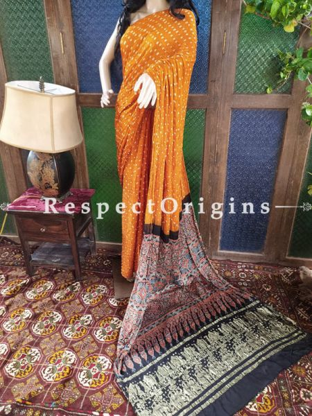 Exuberant Ajrakh Block- print on Bandhani Modal Silk Saree Orange With Black Pallu; Blouse Included; RespectOrigins.com