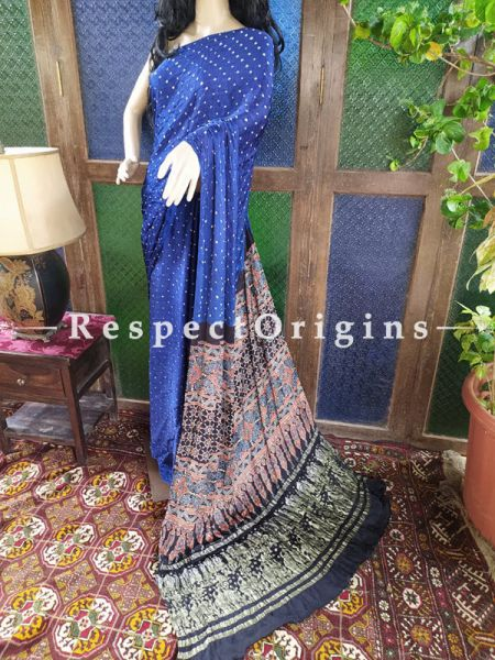 Magnificent Ajrakh Block- print on Bandhani Modal Silk Saree Blue With Black Pallu; Blouse Included; RespectOrigins.com