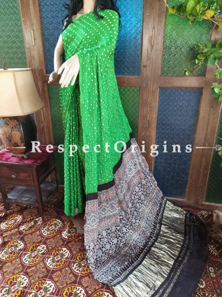 Beautiful Ajrakh Block- print on Bandhani Modal Silk Saree Green With Black & Gold Zari Pallu; Blouse Included; RespectOrigins.com