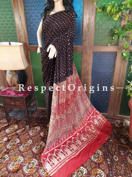 Elegant Ajrakh Block- print on Bandhani Modal Silk Saree Red; Blouse Included; RespectOrigins.com