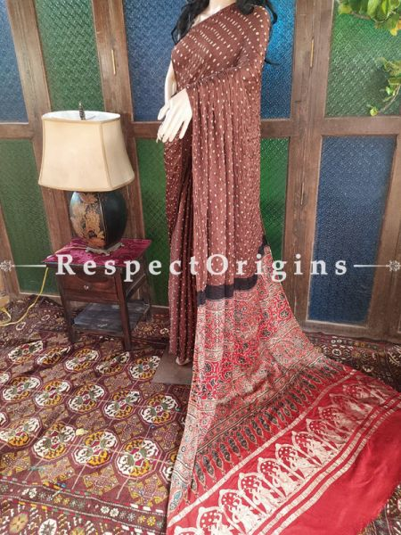 Stunning Ajrakh Block- print on Bandhani Modal Silk Saree Brow With Red and Gold Zari Pallu; Blouse Included; RespectOrigins.com