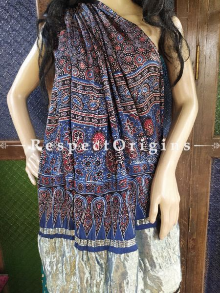 Ajrakh Block- print on Bandhani Modal Silk Saree Bluw With Gold Zari Pallu; Blouse Included; RespectOrigins.com