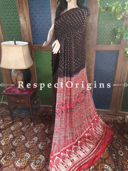 Ajrakh Block- print on Bandhani Modal Silk Saree Black With Red and Gold Zari Pallu; Blouse Included; RespectOrigins.com