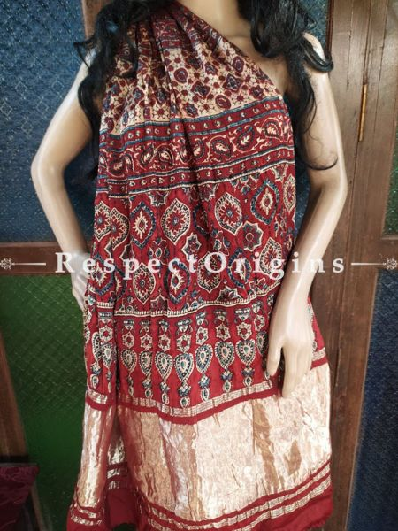Magnificent Ajrakh Block- print on Bandhani Modal Silk Saree Brown With Red and Gold Zari Pallu; Blouse Included; RespectOrigins.com