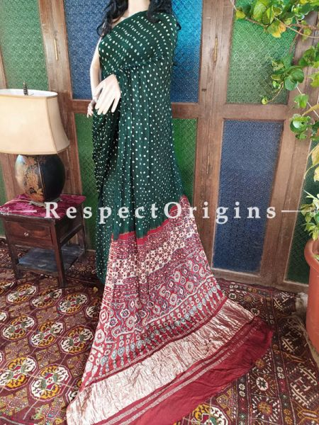 Ajrakh Block- print on Bandhani Modal Silk Saree Green With Red and Gold Zari Pallu; Blouse Included; RespectOrigins.com