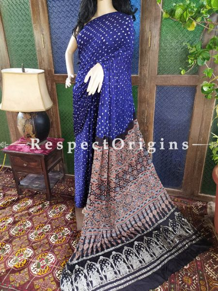 Splendid Ajrakh Block- print on Bandhani Modal Silk Saree Blue With Black Pallu; Blouse Included; RespectOrigins.com