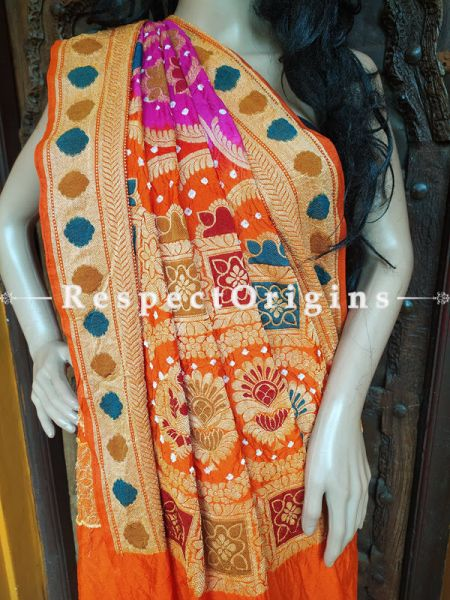 Magnificent Orange and Pink Handloom Bandhej Gaji Silk Saree with Running Blouse; RespectOrigins.com