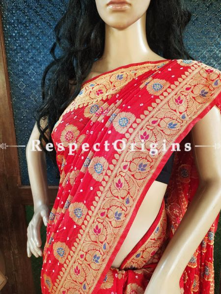 Vibrant Red Handloom Bandhej Gaji Silk Saree with Running Blouse; RespectOrigins.com