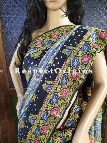 Magnificent Gray and Dark Black Handloom Bandhej Gaji Silk Saree with Running Blouse; RespectOrigins.com