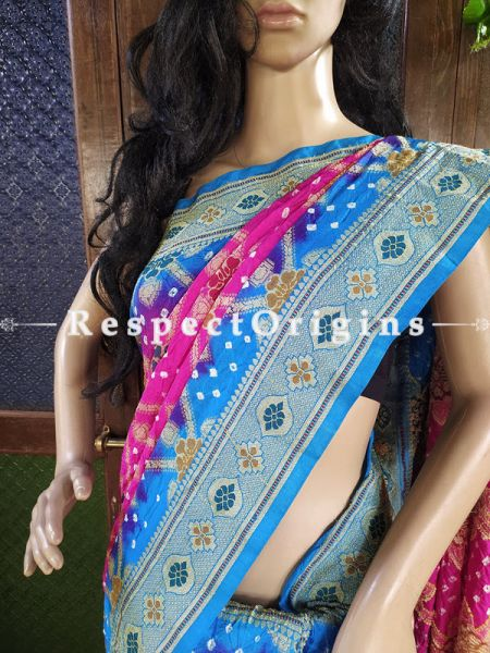 Magnificent Pink and Blue Handloom Bandhej Gaji Silk Saree with Running Blouse; RespectOrigins.com