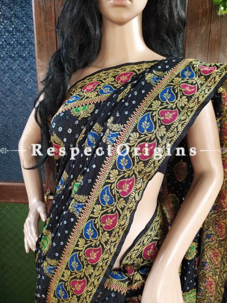 Magnificent Black Handloom Bandhej Gaji Silk Saree with Running Blouse; RespectOrigins.com