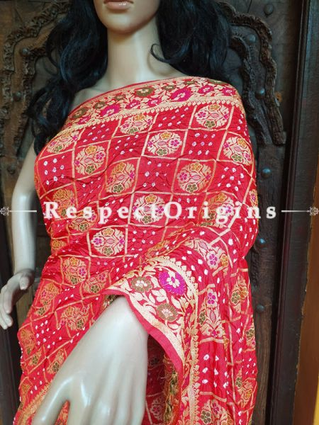Magnificent Pink Handloom Bandhej Gaji Silk Saree with Running Blouse; RespectOrigins.com